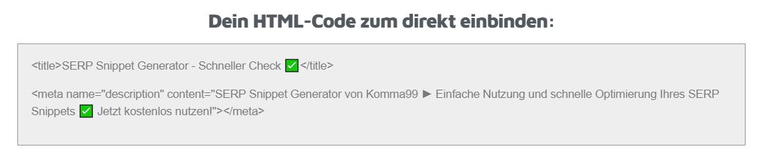 SERP Snippet Generator HTML Komma99